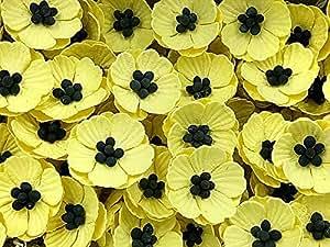 NAVA CHIANGMAI Poppies 桑蚕纸花卉(无钢丝)工艺桑蚕纸花,装饰花,工艺品花。 黄色 PMP1