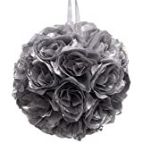 Firefly Imports Flower Kissing Balls Pomander Pom Pom Wedding Centerpiece, Metallic Silver