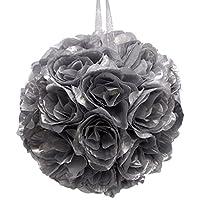 Firefly Imports Flower Kissing Balls Pomander Pom Pom Wedding Centerpiece, Metallic Silver