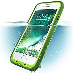 iPhone 8 Plus 手机壳,i-Blason [Aegis] 防水全包坚固手机壳带内置屏幕保护膜,适用于 Apple iPhone 7 Plus 2016/iPhone 8 Plus 2017 版本 绿色