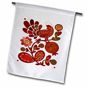 3dRose fl_60636_1 民间艺术与红色屋顶花卉花园旗帜,30.48 x 45.72 厘米