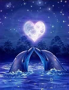 21secret 5D 钻石 DIY 画全圆钻手工浪漫海豚情侣在蓝色星空十字绣家居装饰刺绣套件 40x50CM 21-DP-062-40 * 50