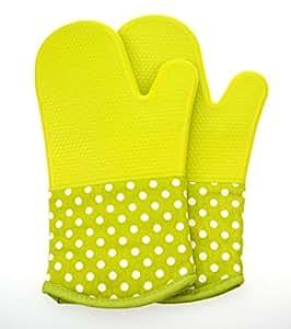 ZHIMING 硅胶烤箱手套,耐高温手套带棉内衬,用于烹饪、烘焙、烧烤、烧烤,1 对 绿色