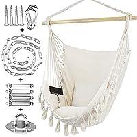 WBHome 室内室外吊床椅 - 米色,棉质帆布,包含手提包和两个座椅靠垫,*大 重 330 磅(含悬挂五金件)