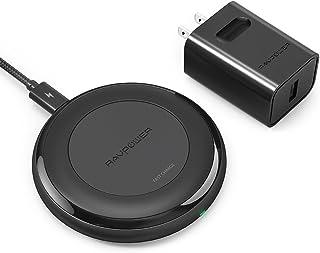 RAVPower 快速无线充电器兼容 iPhone X/iPhone 8/8 Plus QI 无线充电板,适用于 Galaxy S8 Note 8 和所有启用型设备(QC 3.0 适配器)US-RP-PC034-01 黑色