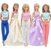Blppldyci 5 件套芭比娃娃衣服女孩时尚手工服装休闲装裤裤长裤适合 11.5 英寸女孩娃娃服装儿童圣诞新年生日礼物
