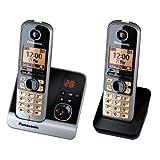 Panasonic 松下无绳电话(4.6厘米(1.8英寸)显示屏,智能按钮,免提,答录机) 黑色/银白色 cm