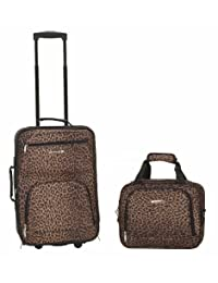 Rockland 洛克兰 拉杆箱套箱 F102 豹纹 19寸拉杆箱+14寸手提袋 单向轮 涤纶材质 挂锁 (亚马逊自营商品, 由供应商配送)