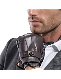 MATSU 男士冬季超保暖羔羊皮触摸屏纹理驾驶皮革手套 M2011(羊绒/长羊毛衬里)