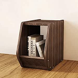 自由组合DIY储物柜简约现代小柜子多角个性置物柜书房带门个性书柜百变组合收纳柜 (A款核桃木色)