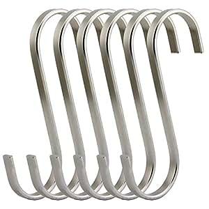 RuiLing Premium Brushed Stainless Flat S Hooks Kitchen Pot Pan Hanger Clothes Storage Rack. 银色 XL/Flat