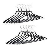 Relaxdays 服装挂钩,10件套,衣架,金属带橡胶,防滑,小巧,45 厘米,黑色