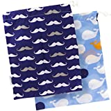 Kushies baby ON THE GO 防水尿布包 Blue Whale/Navy Moustache 大