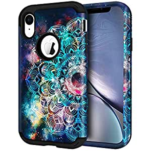 "iPhone XR 手机壳,LOEV 重型防震保护套全身 3 层混合保护壳防刮硬质 PC 外壳和硅胶橡胶缓冲保护套适用于 Apple iPhone XR 6.1"",Mandala Mandala"