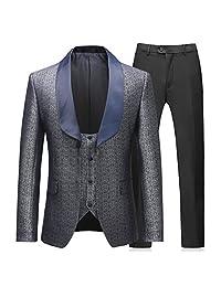 Boyland 男士 3 件套燕尾服 单扣宽青果领正装黑色领带