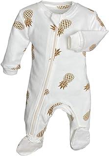 ZippyJamz 有机婴儿连脚睡衣 带内缝拉链,方便换尿布