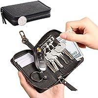 KEY 钱包拉链皮革汽车钥匙保护套适用于男式大容量钥匙扣钥匙扣黑色