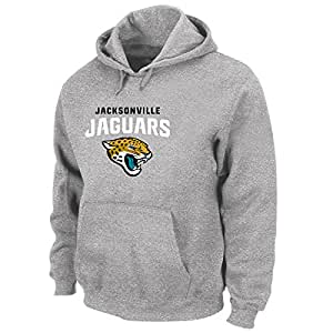 NFL Jacksonville Jaguars 中性款涤纶混色套头连帽衫,麻灰色,3X/加长