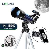 ESSLNB 儿童望远镜,带手机适配器,70 毫米初学者天文望远镜,带可调节三脚架 3X 巴洛透镜和月亮过滤器