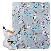 Disney 异想天开的Patter Elsa 人物枕头和羊毛套装抱毯 Olaf Knows 40 x 50 1DFZ/03800/0012/AMZ