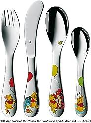 WMF 福腾宝 儿童餐具4件套 Winnie the Pooh 系列Cromargan 18/10拉丝不锈钢,浮雕设计,适用于3岁儿童