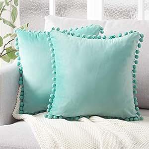 """*细装饰抱枕套 带绒球软粒绒纯色靠垫套 适用于沙发卧室汽车 青* 2-Pack, 22""""x22"""" KD052Teal2222-2"""