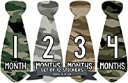 Months in Motion 765 Monthly Baby Stickers Necktie Tie Baby Boy Months 1-12 Camo Camouflage