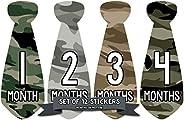 Months in Motion 765 Monthly Baby Stickers Necktie Tie Baby Boy Months 1-12 Camo Camouflage