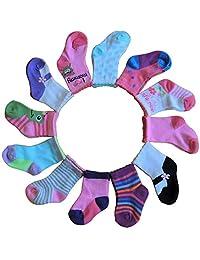 男女宝宝婴儿袜 - 12 双 - 可爱 - 亮色 - 舒适贴身 - 适合 6-12 个月 - 各种颜色和风格