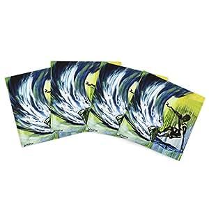 Kess InHouse Josh Serafin Greenroom *蓝色户外餐垫,38.1 x 38.1 厘米,4 件套