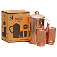 Pure Copper Water Jug 帶 2 個銅杯 — 用于 Ayurveda Health Benefit 的銅壺和杯