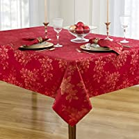 Poinsettia Holiday Metallic Damask Fabric Christmas Tablecloth - 60 x 102 Inch Oblong, Ivory/Gold