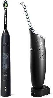 Philips 飞利浦 Sonicare ProtectiveClean 5100电动牙刷和Philips AirFloss Pro电动牙线,黑色(英国2针浴室插头)-HX8491 / 74