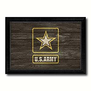 """军事旗帜纹理帆布印刷黑色相框家居装饰墙壁艺术装饰礼品创意标志 Us Army Star 15""""x21"""" 6929WB1521"""