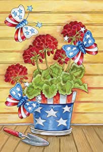 Toland Home Garden Patriotic Pail 12.5 x 18 Inch Decorative Potted Flower America USA Butterfly July 4 Garden Flag