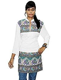 Lakkar Haveli 印*安 * 棉 女式 Kurta 上衣 束腰上衣 Kurti 加大码动物印花白色