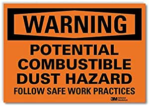 Smartsign U6-1199-RD_10X7 英寸WARNING POTENTIAL COMBUSTIBLE DUST HAZARD FOLLOW SAFE 工作实践反光自粘贴花,25.40cm x 17.78cm