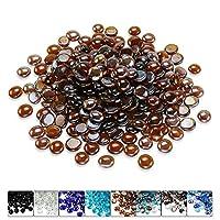 Hisencn 1.27 cm 琥珀色玻璃珠适用于火盆、壁炉、火盆、花园景观装饰配件、高光泽钢化玻璃石,4.45 kg