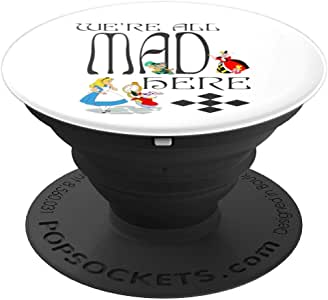 Mad Hatter 帽子 Alice Gone Bonkers Wonderland Tea Party 粉丝 PopSockets 握柄和支架 适用于手机和平板电脑260027  黑色