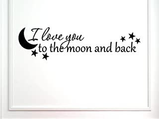 Vinylsay 1246.Ilove-M.Black -33x9 贴花 I Love You to The Moon and Back 字样墙贴,83.82 x 22.86 cm,哑光黑色