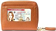 RFID 女士錢包,超薄女士真皮雙折錢包,防盜旅行保護