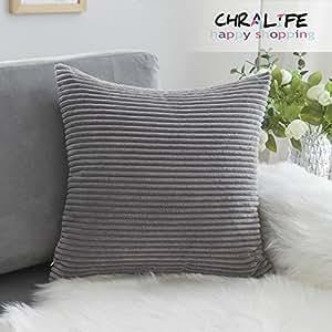 CHRALIFE 纯色灯芯绒格子方形抱枕套靠垫套,1 件 18X18 英寸(45 x 45 厘米) Stripe-deep Grey 45 * 45 USCEBZ-RONGTW45*45-20