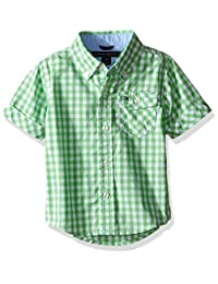 TOMMY HILFIGER 婴儿男孩 baxter 滑雪帽短袖纱线染色府绸梭织衬衫