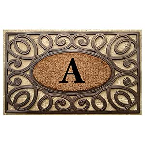 A1 Home Collections Rubber and Coir Elegant Circles Princess Large Doormat Monogrammed (23 x 38 Inches) - Monogrammed A