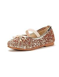 DREAM PAIRS 女孩幼童/小童/大童 Belle_01 Mary Jane Glitter Ballerina 平底鞋