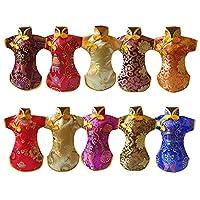 10 件中国风酒瓶套,绣花唐装旗袍,防滑家居刺绣派对中国风唐装酒瓶套 多彩 19 x 30 cm 15671492165945