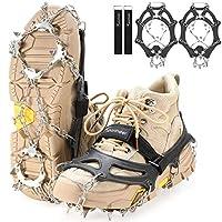 Sportneer 冰攀岩板,19 个尖头不锈钢防滑冰雪夹,女式、儿童、男式鞋靴,*保护散步、登山、登山、攀岩、雪上远足、M、L、XL
