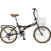 鹿牌(CAPTAIN STAG)Faster 折叠式自行车 FDB206SHIMANO6档变速 / 带遥控器的LED灯 / 圆形锁 / 后座 / 前后防泥 / BAA 标准装备 深棕色