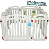 kiddygem M7婴儿游戏围栏游戏床,白色,超高