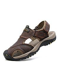 马爷子 男士夏季沙滩鞋 头层牛皮凉鞋 防滑橡胶+减震MD中底 舒适柔软 夏季户外凉鞋 DP52-7238-2-X